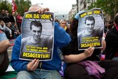 Protesto para o desparition de Jon Anza Fotos de Stock Royalty Free