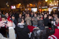 Protesto árabe, egípcios que demonstram de encontro a mil. Fotos de Stock Royalty Free