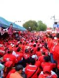 Protesto vermelho da camisa em Banguecoque Fotografia de Stock Royalty Free