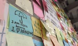 Protestor bij Paraplurevolutie in Centraal, Hong Kong Stock Foto