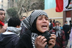 Protestor durante a revolução egípcia Fotos de Stock Royalty Free