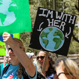 Protestor with Earth Sign at Climate March Stock Photography
