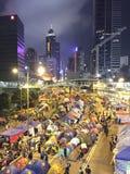 Protestor en la revolución del paraguas en central, Hong Kong Imagen de archivo libre de regalías