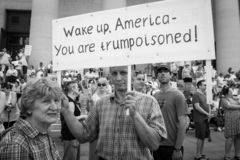 Protestor Holds Donald Trump Protest Sign. Immigration Rally held in Columbus Ohio on 06/30/18. Part of the nationwide rallies to protest Trump administration stock image