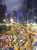 Protestor przy Parasolową rewolucją w centrali, Hong Kong Obraz Royalty Free