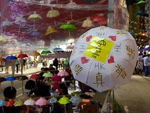 Protestor street art at Umbrella Movement, Causeway Bay, Hong Kong Stock Images