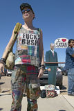 Protestor with a t-shirt that reads Fuck Bush. At a George W. Bush protest rally in Tucson, AZ Stock Photos