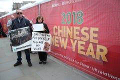 Protestors Año Nuevo chino, año del festival del perro de Yulin del perro Londres, febrero de 2017 Imagen de archivo libre de regalías