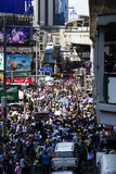 Protestors at Asoke Bangkok Stock Photo