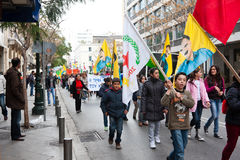 Protestors in Athene van de binnenstad Royalty-vrije Stock Foto's