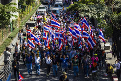 Protestors in Bangkok ask to reform before election at Asoke Royalty Free Stock Photo