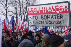 Protestors carrying banner supporting Lech Walesa Stock Photo