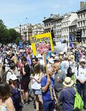 London, England. June 23 2018. People`s Vote protest march. Protestors carrying flags and placards march along Whitehall, London, England. A sign showing an stock photography