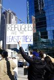 Protestors in Dallas against Refugee Ban Royalty Free Stock Images