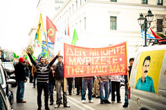Protestors in downtown Athens Royalty Free Stock Images