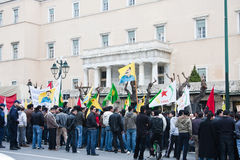 Protestors in downtown Athens Stock Photo