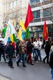 Protestors en Atenas céntrica Foto de archivo