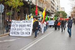 Protestors en Atenas céntrica Imagen de archivo