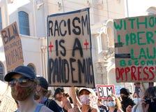Protestors at the George Floyd Black Lives Matter protest in San Francisco, CA