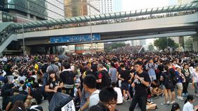 Protestors in Harcout road near Central Government Offi Occupy Admirlty 2014 Hong Kong protests Umbrella Revolution Occupy Central Stock Photos