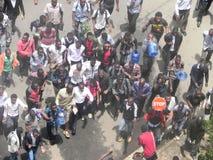 Protestors in Narobi. University students clash with police   in Nairobi Kenya Royalty Free Stock Image