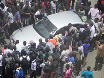 Protestors in Narobi. Univesity students protest   in Nairobi Kenya Stock Photo