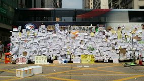 Protestors post message on Bus in Nathan road Occupy Mong Kok 2014 Hong Kong protests Umbrella Revolution Occupy Central Royalty Free Stock Photography