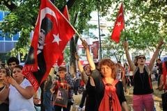 Protestors que guardam a bandeira Imagens de Stock