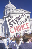 Protestors with signs at pro-choice rally Royalty Free Stock Image