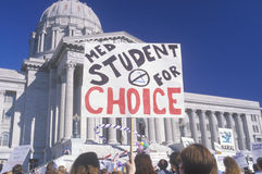 Protestors with signs at pro-choice rally Royalty Free Stock Images