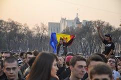 Protestos anticomunistas dos demonstradores em Chisinau Fotografia de Stock Royalty Free