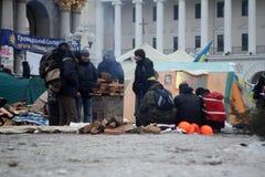 Protestos antigovernamentais EuroMaydan do burro fotografia de stock