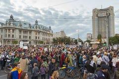 Protestos contra a extração do ouro do cianureto em Rosia Montana Fotos de Stock