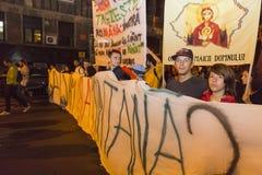 Protestos contra a extração do ouro do cianureto em Rosia Montana Imagens de Stock