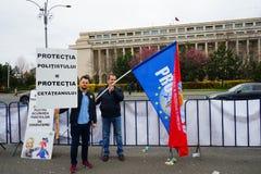 Protestos da polícia em Bucareste, Romênia Foto de Stock