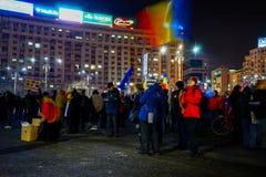 Protestos no 22th dia em seguido, Bucareste, Romênia Fotos de Stock Royalty Free