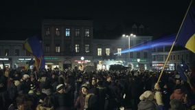 Protests against controversial law, Brasov, Romania stock video