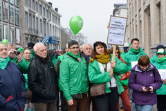 Protests against decision of Delhaize supermarket to fire employees Stock Photography