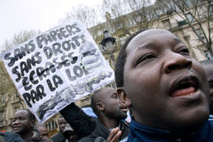 Protests against French immigrant laws Stock Photography
