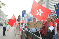 Protests against HKSAR Policy Address, Budget forums Royalty Free Stock Photos