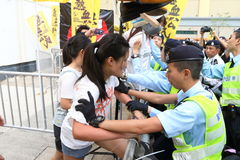 Protests against HKSAR Policy Address, Budget forums Stock Photo