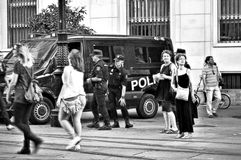 Protests against the monarchy 23 Police on the watch. This is street photography: This is a protest against the Spanish monarchy Stock Images