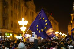 Protests against new laws of justice in Timisoara, Romania in January 2018 royalty free stock photography