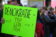 Protests against TTIP in Austrian cities. In six Austrian cities on Saturday thousands of people demonstrated against the planned EU / US Free Trade Agreement ( Stock Image