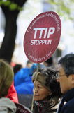 Protests against TTIP in Austrian cities. In six Austrian cities on Saturday thousands of people demonstrated against the planned EU / US Free Trade Agreement ( Stock Photo