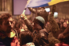 Protests in Bucharest for Colectiv victims Stock Image
