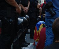 Protests for Catalan Indipendence. Catalonia Referendum: people prostesting in the streets of Barcelona. October 2017. Catalan students protesting in Catalonia Stock Photo