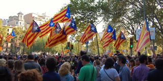 Protests for Catalan Indipendence. Catalonia Referendum: people prostesting in the streets of Barcelona. October 2017. Royalty Free Stock Photography
