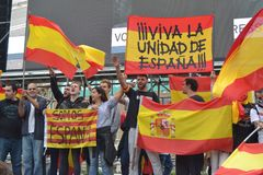 Protests for Catalan Indipendence. Catalonia Referendum: people prostesting in the streets of Barcelona. October 2017. Royalty Free Stock Photo