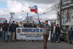 Protests in Chile. Chilean Students and workers march through the streets to protest changes in education and the pension system royalty free stock photos